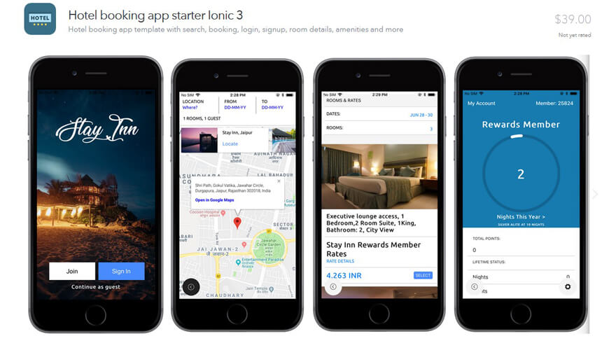 Hotel Room Reservation Ionic App